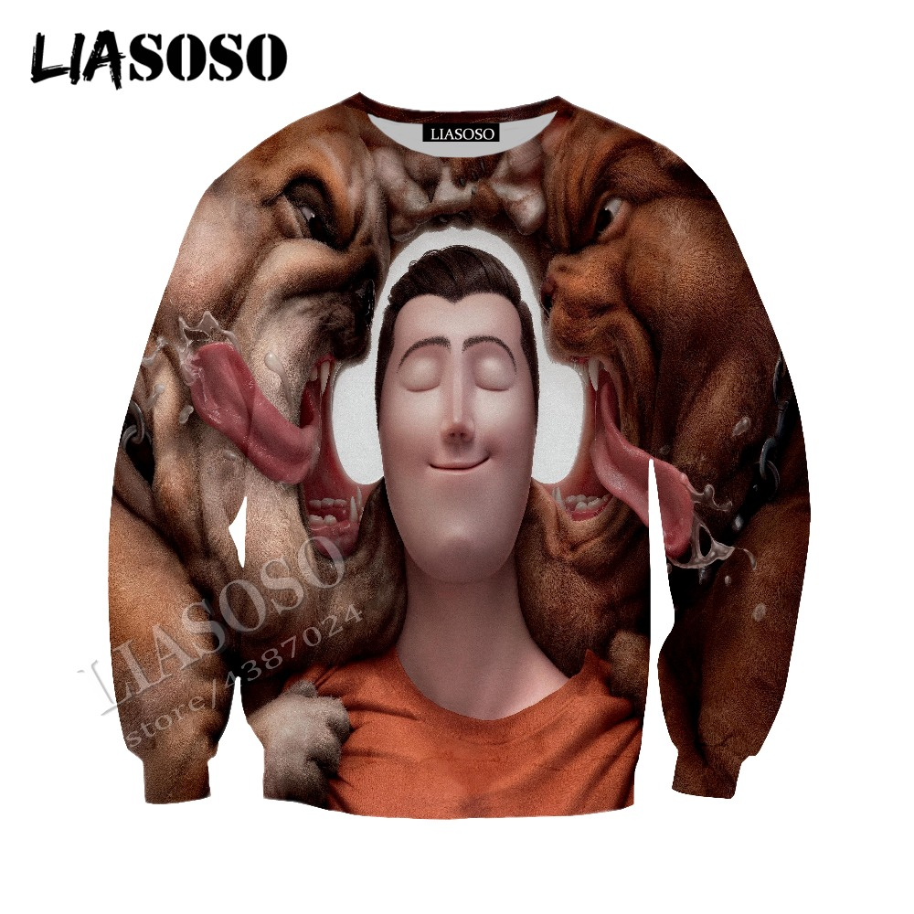 LIASOSO latest 3D printing comfortable polyester hoodie zipper hoodie humorous cartoon pet dog men and women sportswear CX317