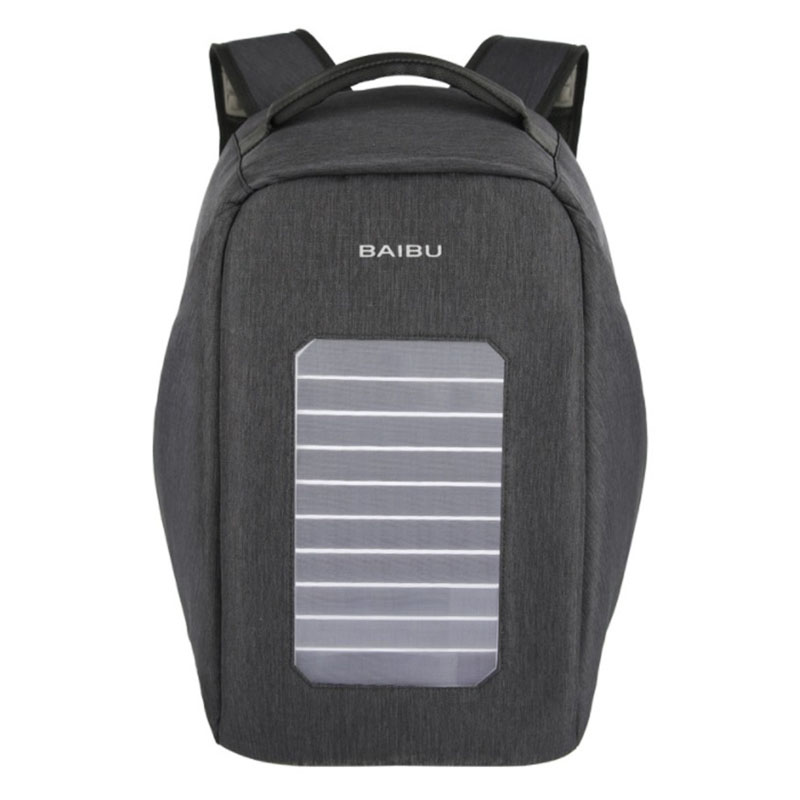 BAIBU Solar USB Charge Backpack Men Anti-The Notebook Computer Waterproof Travel Bags Teenagers Men Women Fallow School Bags baibu men backpack usb charge notebook business 15 6 computer bag waterproof anti theft women travel school bags for teenagers