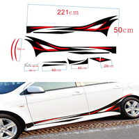 2Pcs Sport Flame Decor Vinyl Car SUV Body Sticker Side Hood Decal Free Shipping Whole Body Car Sticker