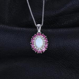 Image 3 - Created Created Opal Pink Sapphire Pendant Necklace 925 Sterling Silver Gemstones Choker Statement Necklace Women Without Chain