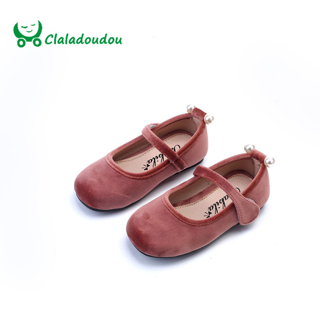 Claladoudou 2017 Spring Girls Shoes Brand Pearl Princess Dress Shoe For Children Flat Pleuche Toddler Fashion Dance Mary Jane