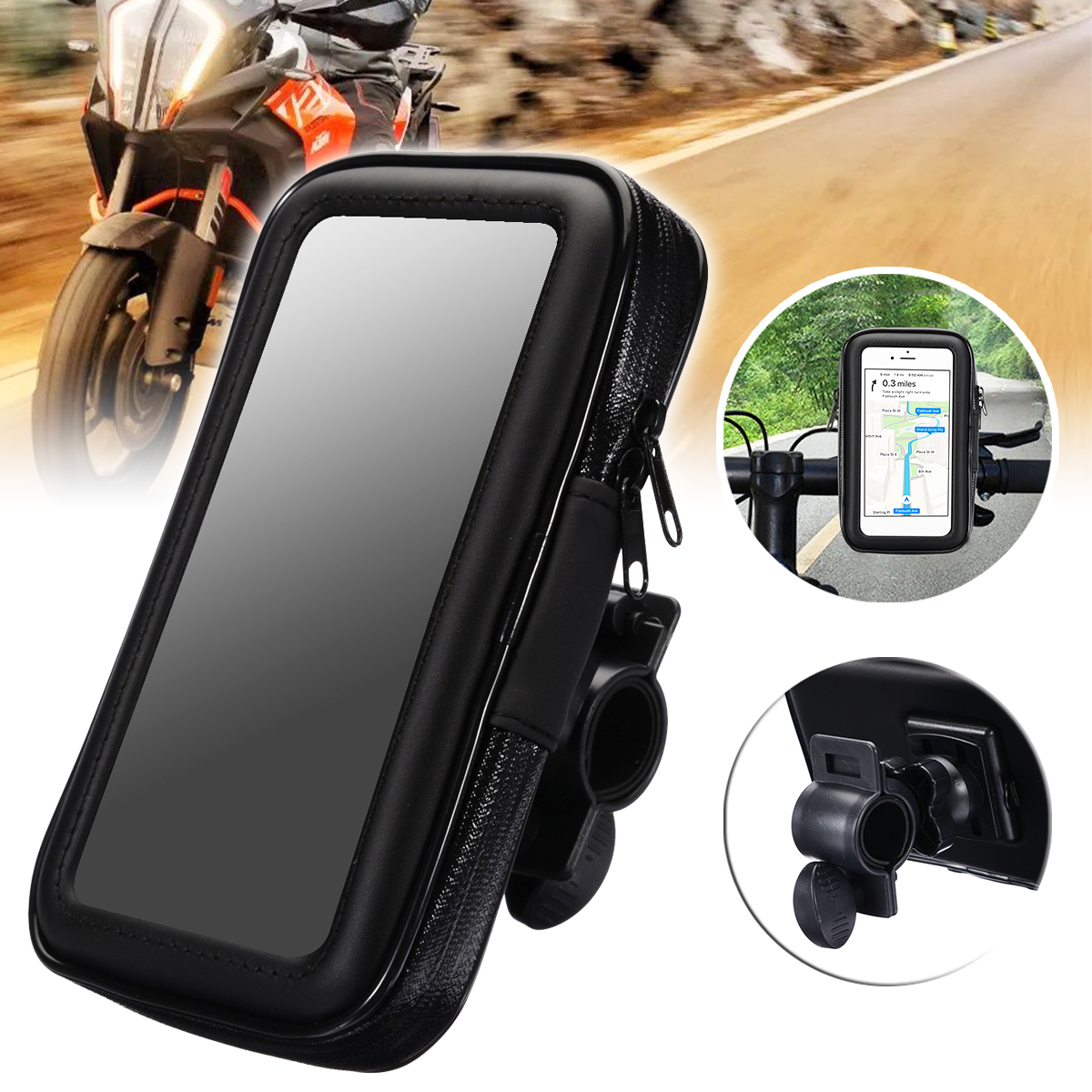 "1PC Motorcycle Bike Bicycle Waterproof Phone GPS Case Bag Handlebar Mount Holder 15 x 8.5 x 2.5cm For Mobile Phones Without 5.5""-in GPS Stand from Automobiles & Motorcycles"