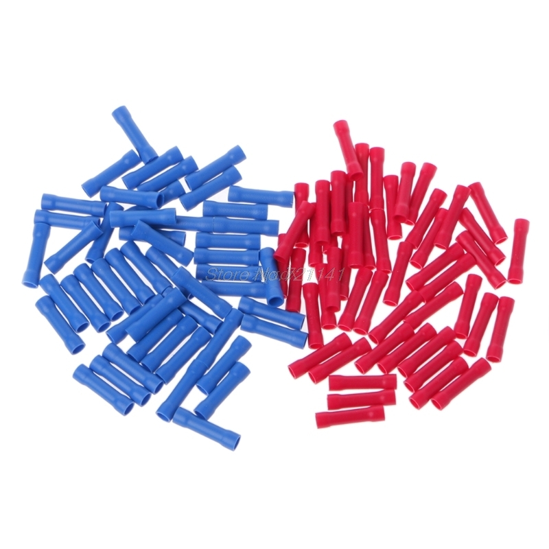 100 Pcs/1 Set 50pcs Blue 50pcs Red Electrical Straight Butt Connectors Terminal Crimp Cable