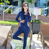 Rhyme Lady Long Sleeve Rash guard Zipper Swimwear five pieces Surfing Suits patchwork Sun Protection Swimming Suit For Women
