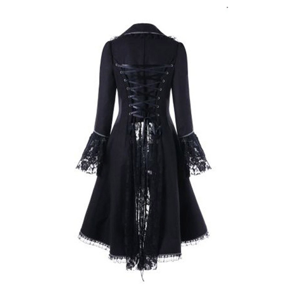 Gothic Swallowtail Asymmetrical Lace Coat Long Sleeve Autumn Patchwork   Trench   Fashion Dovetail Outerwear Spring Women Coats