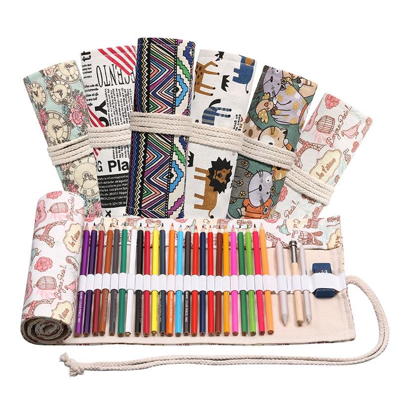 Pencil Case Pen Bag 48 Holes Pouch Canvas Pen Wrap Roll Makeup Cosmetic Brush Pen Storage Stationery School Supplies Students Pencil Cases     - title=