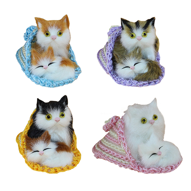 1 Pc 10cm Lovely Animal Mother and Child Cats Kittens Soft Plush Kids Toys for Children Room Christmas Decoration Model Gifts
