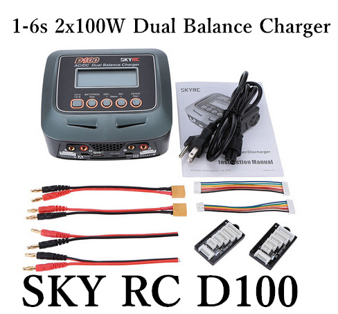Skyrc D100 Charger Twin-Channel AC/DC LiPo 1-6s 2x100W Dual Balance Charger Discharger Lipo LiFe Li-ion NiMh PB Battery RC parts skyrc d100 2 100w ac dc dual balance charger 10a charge 5a discharge nimh lipo battery charger twin channel charge