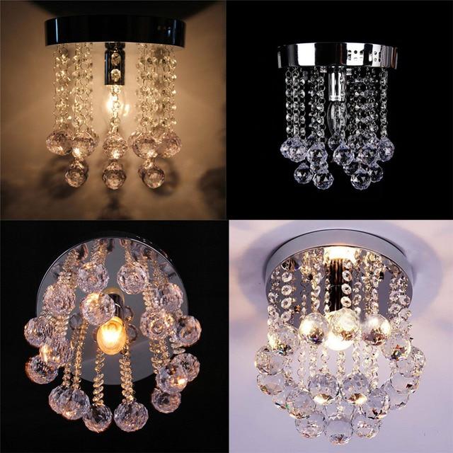 Modern Crystal Aisle Light Creative Porch Lights Ceiling Chandelier Lighting Fixtures Round Base E14 Led