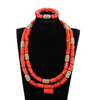 Quality Real Coral Men Bead Jewelry African Big Original Coral Beads Wedding Jewelry Set Groom Necklace Bracelet Set CNR108