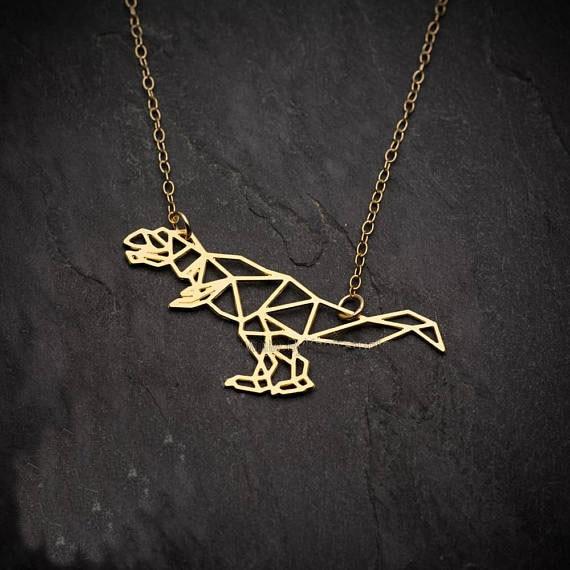 Minimalis Dinosaur Necklace Origami Gold Geometric Animal Dinosaur Neck