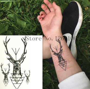 HOT SALE ! 10x6cm Fashion Small Cute Deer Waterproof Temporary Tattoo Sticker
