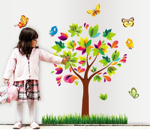 colorful small tree wall stickers girls flower vinyl wallpaper ...