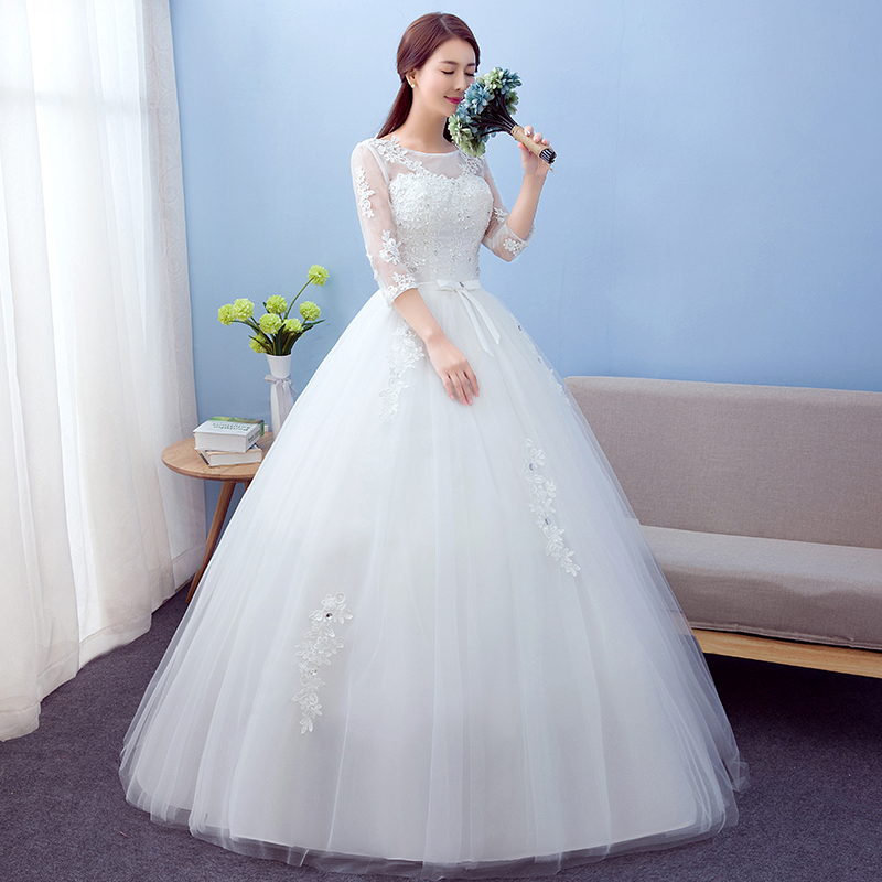 2019 Best Selling Ball Gown Lace Tulle Red Ivory Three Quarter Wedding Dress Chinese Style Cheap China Bridal Gown Online Store in Wedding Dresses from Weddings Events