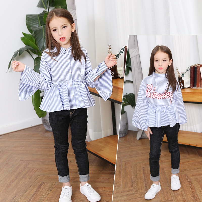 цены 2017 Autumn Girls Blouse Ruffle Hem Flare Sleeves Blue Striped Letter Design for Teens at Age 56789 10 11 12 13 14T Years Old