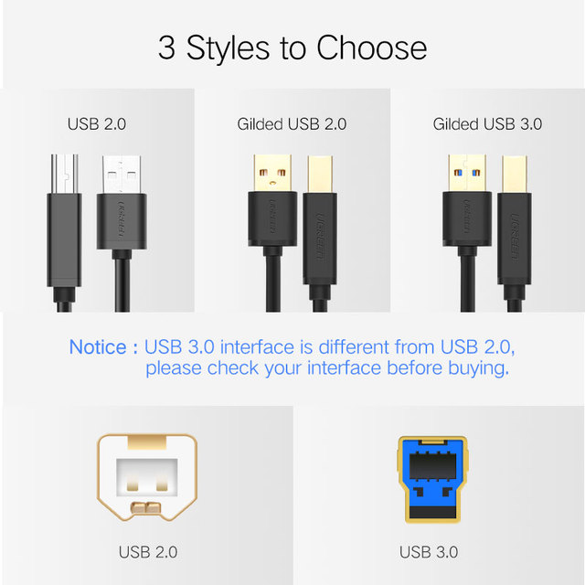 Ugreen USB Printer Cable USB Type B Male to A Male USB 3.0 2.0 Cable for Canon Epson HP ZJiang Label Printer DAC USB Printer