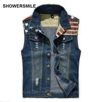 SHOWERSMILE Brand Clothing Mens Jean Vest Flag Pattern Stripes Sleeveless Jacket Hip Hop Biker Waistcoat Denim Motorcycle Vests