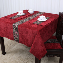Latest Patchwork geometric Lace Table Cloth Velvet Fabric Waterproof Oilproof Cover Luxury Europe style Dining Pads