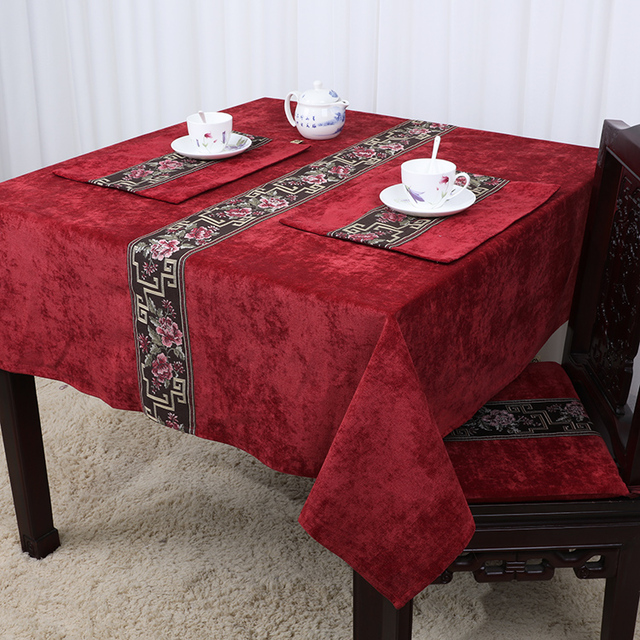 High End Patchwork Lace Chinese Table Cloth Velvet Fabric Rectangular Square Decorative Cover Luxury Dining