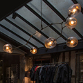Luzes Pingente de Loft Industrial Barra de Ouro Preto do vintage Escada Sala de Jantar de Vidro Sombra Retro Lindsey adelman Dispositivos Elétricos Da Lâmpada Pingente