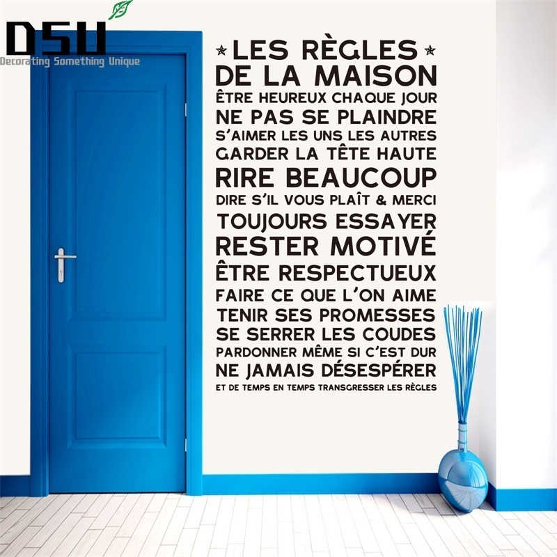House Rules Wall Sticker French Quote  Home Decor Vinyl Home Decoration FQ0020 Wallpaper