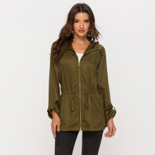 Escalier Womens Anorak Jacket Lightweight Drawstring Hooded Military Parka Coat