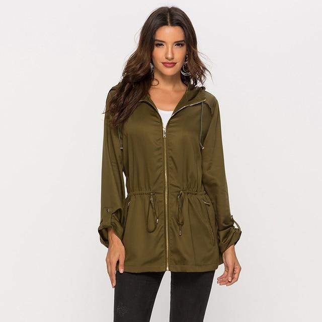 Escalier Anorak femme veste cordon léger capuche Parka militaire manteau