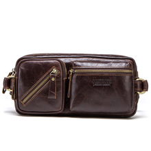 Male Waist Bags Fanny Pack Men Chest Purse Genuine Leather Shoulder Crossbody Two Using Oil Wax Messenger Bag Business Travel fashion genuine leather men chest bag casual male oil wax leather sling bags men s messenger shoulder bag crossbody travel bag