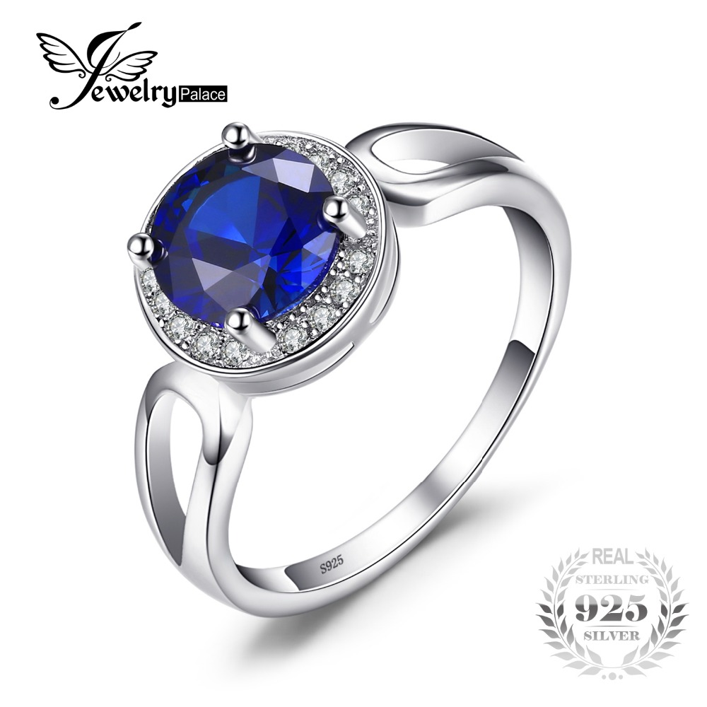 JewelryPalace Round Cut 2 2ct Created Blue Sapphire Engagement Halo Ring Solid 925 Sterling Silver Jewelry