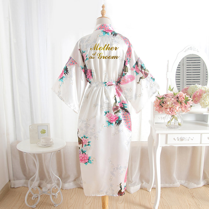 BZEL Mother Of The Groom Robes Wedding Robe Bride Floral Bathrobe Silk Bath Robe Long Bridal Party Gifts Dressing Gown Wholesale