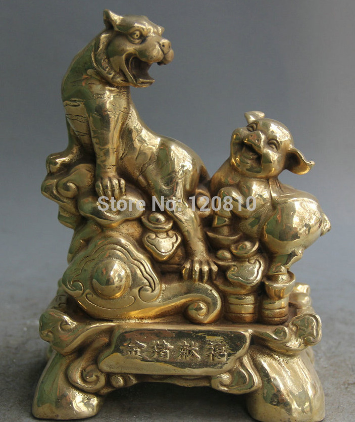 "8"" Chinese Folk Feng Shui Brass Wealth Zodiac Year Tiger Pig Statue Sculpture