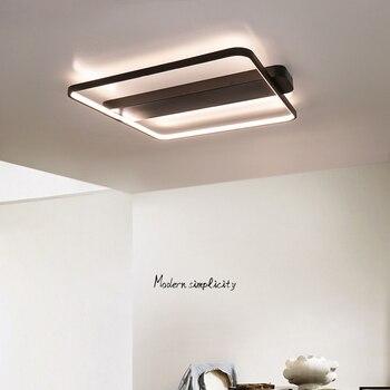 תקרת אורות Led תאורה קבועה שחור עגול כיכר Plafondlamp תקרת מנורת מודרני סלון מסעדת חדר שינה מטבח