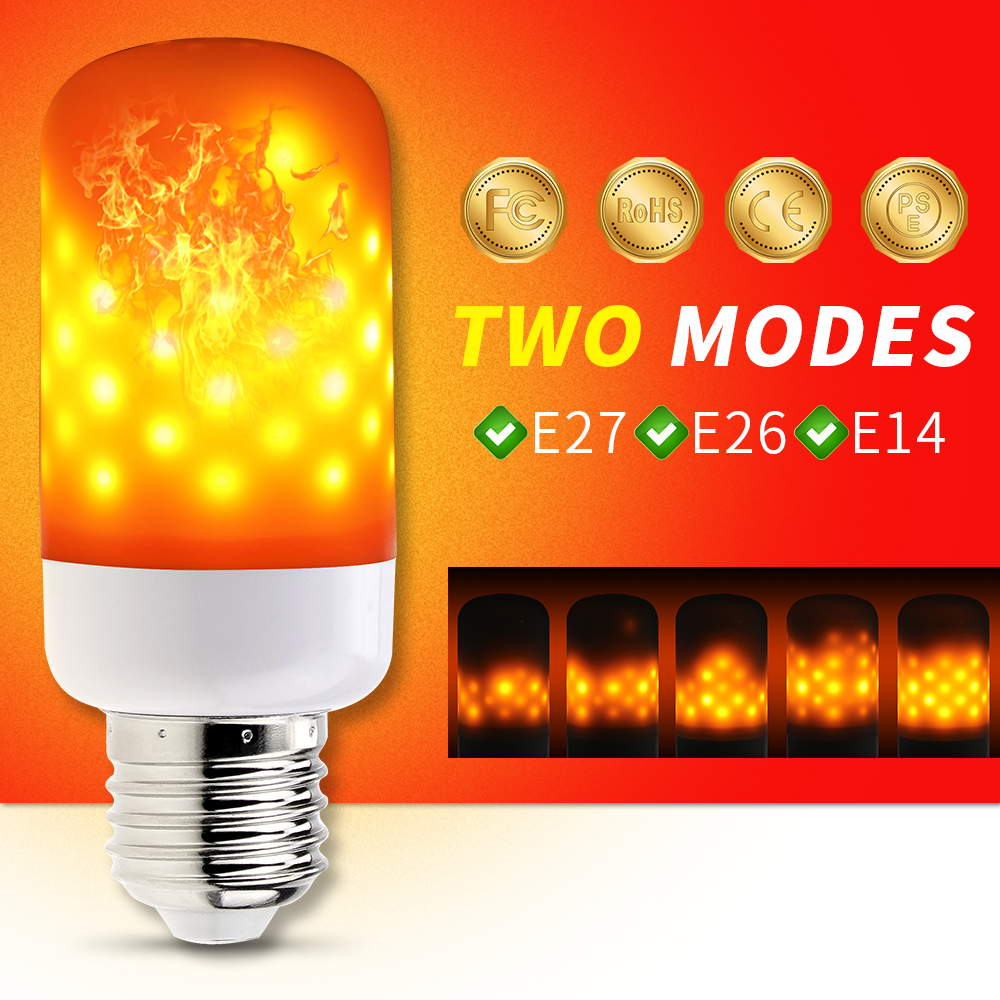LED Fire Lamp Flame Bulb E27 220V E26 Candle Bulb Corn E14 SMD2835 110V Dynamic Effect Simulation Flame Light Bulbs Two Modes 5w led flame bulb 99leds fire lamp ac85 266v two gear modes simulation flame dynamic lighting flickering effect