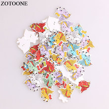 ZOTOONE Cartoon Unicorn Wodden Buttons DIY Scrapbooking Craft Sewing Wood For Clothing Crafts Needlework Accessories A