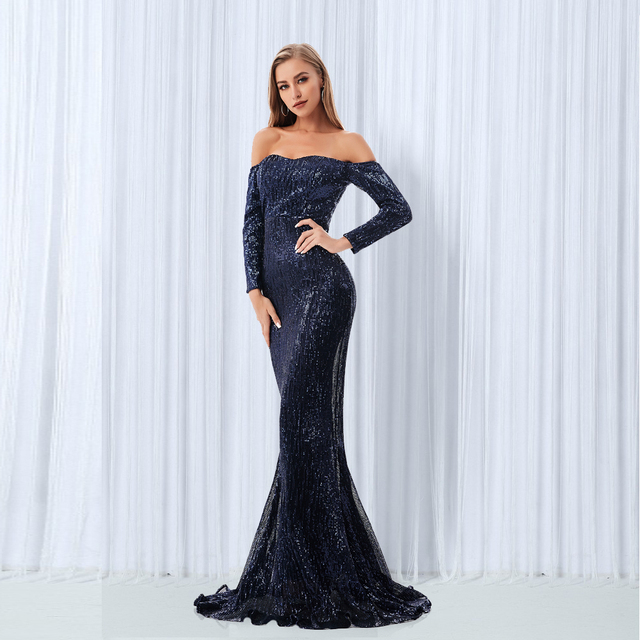 Sexy Slash Neck Sequin Dresses Champagne Gold Navy Blue Sequined Maxi Dress Floor Length Evening Party Dress Gown