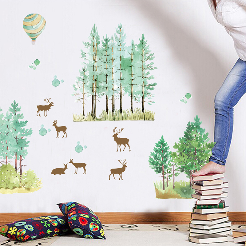 Cartoon Trees Curtains For Kids Boys Bedroom Blinds Linen: Boys Girls Children Bedroom Home Decor Cartoon Forest Tree