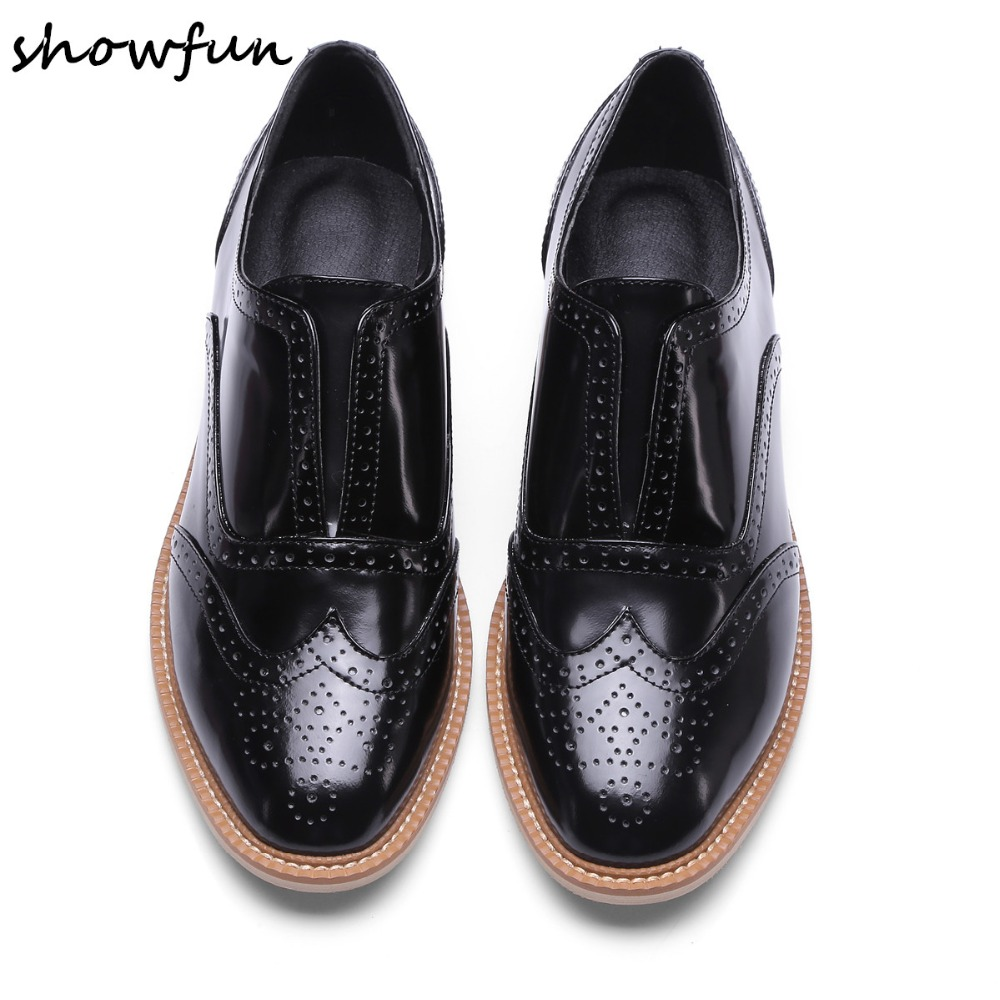 Women's Genuine Leather Carving Slip-on Flats Oxfords Brand Designer Leisure Comfortable Brogues Shoes British Style Moccasins women s genuine leather carving slip on loafers brand design platform flats leisure espadrilles brogues shoes moccasins zapatos