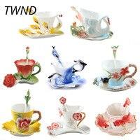 Enamel Coffee Mugs Procelain Tea Cups and Mugs With Saucer Spoon Peacock Swan Dolphins Europe Style Mark Creative Drinkware