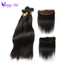 Yongtai Hair Malaysian Straight Hair 4 Bundles With Frontal Human Hair Extension Lace Frontal With Bundles For Hair Solan