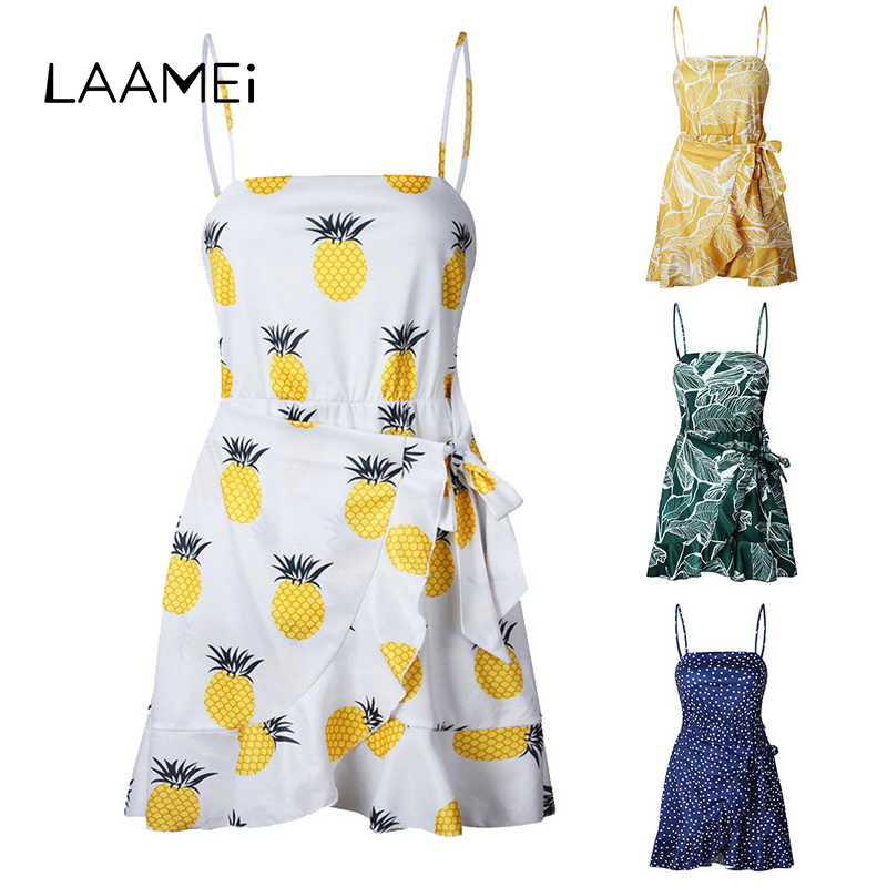 Laamei Pinted Dot Strap Summer Dress For Women Sashes Ruffles Beach Mini Dresses Sweet G ...