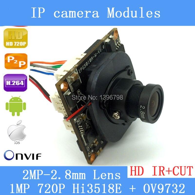 720 P Mini Caméra IP Module Combo Kit Hi3518E + OV9732 mise à niveau supérieur résolution 1.0 MP CMOS + 2.8mm 2MP objectif + Queue câble