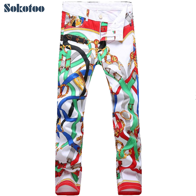 Sokotoo Men's fashion slim colored belt print jeans Casual flower pants Long trousers