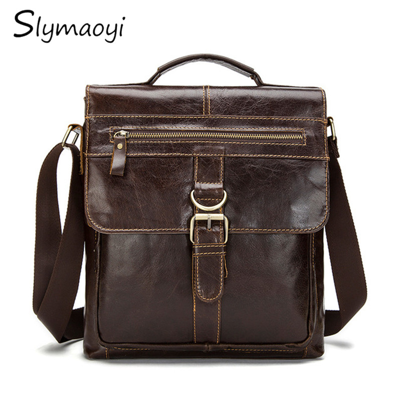 Slymaoyi New Fashion Genuine Leather Man Messenger Bags Cowhide Leather Male Cross Body Bag Casual Men Commercial Briefcase Bag manbang new fashion genuine leather man messenger bags cowhide leather male cross body bag casual men commercial briefcase bag