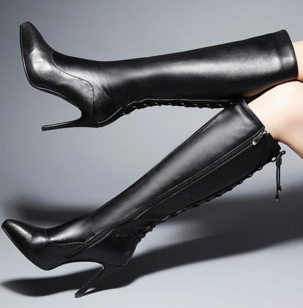 Women Winter Genuine Leather Thin High Heel Side Zipper Pointed Toe Lace Up Fashion Knee High Boots Size 34-39 SXQ1006 jialuowei women sexy fashion shoes lace up knee high thin high heel platform thigh high boots pointed stiletto zip leather boots
