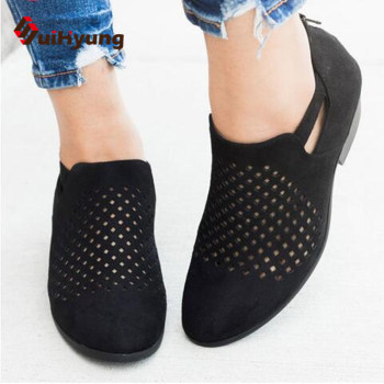 2019 Spring Summer New Women's Shoes Fashion Openwork Breathable Sandals Large Size34-43 Female Casual Shoes Rough Heel 1