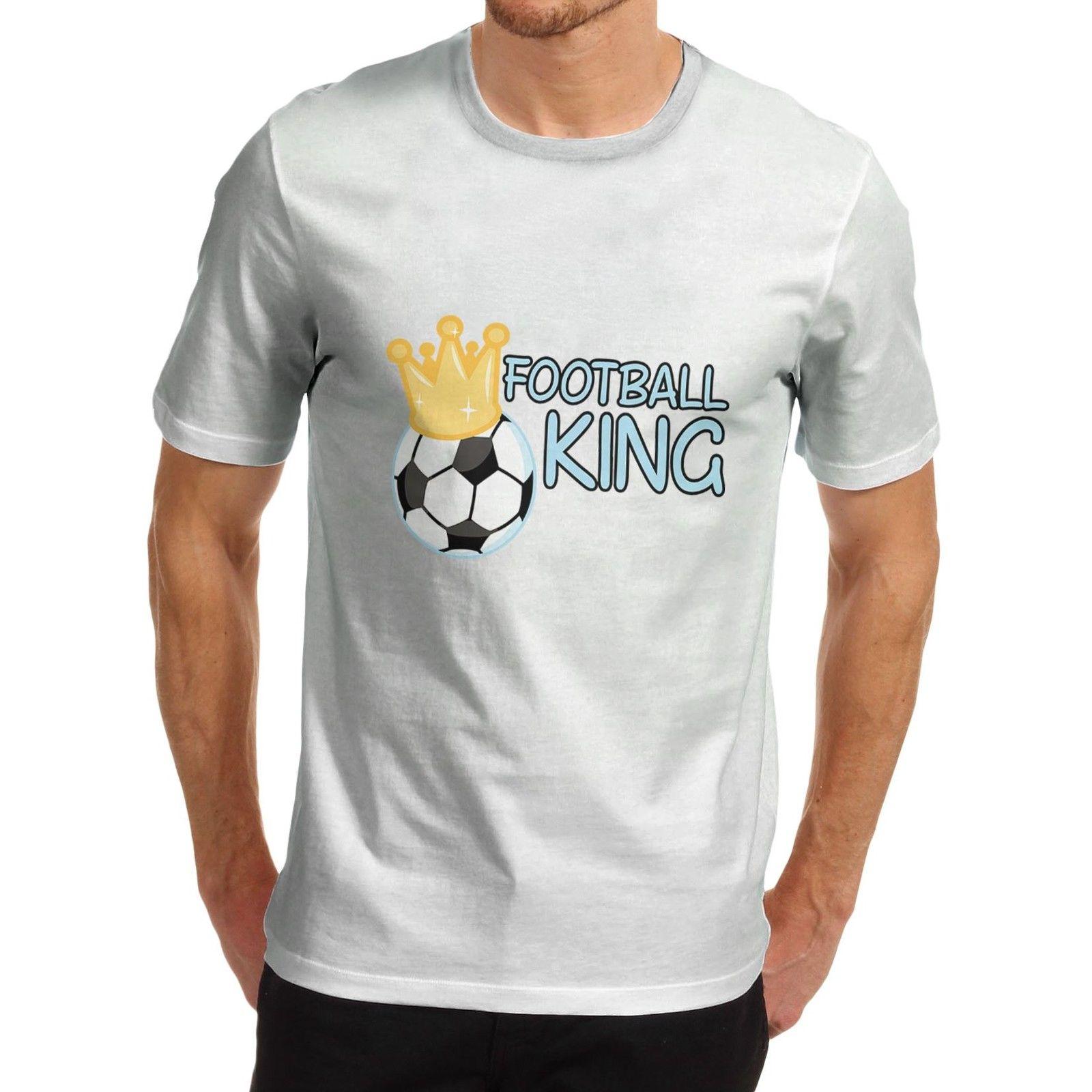 Design tshirt online free shipping - Printed T Shirts Online Short Sleeve Zomer Crew Neck Cotton Novelty Sportser Design Footballer King T Shirts For Men