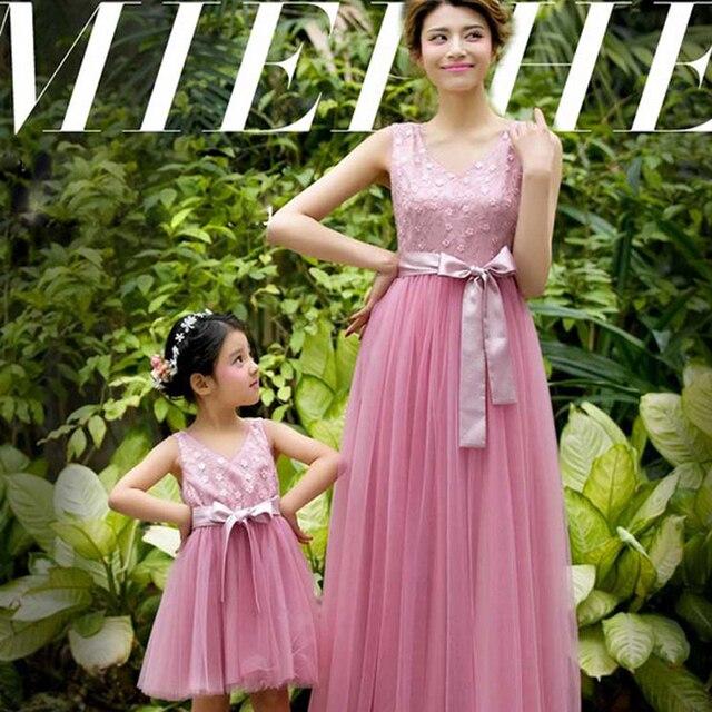 Nueva Manera del verano flor stitchwork con hilo hermosa hija de la madre vestido de fiesta vestido de novia completo