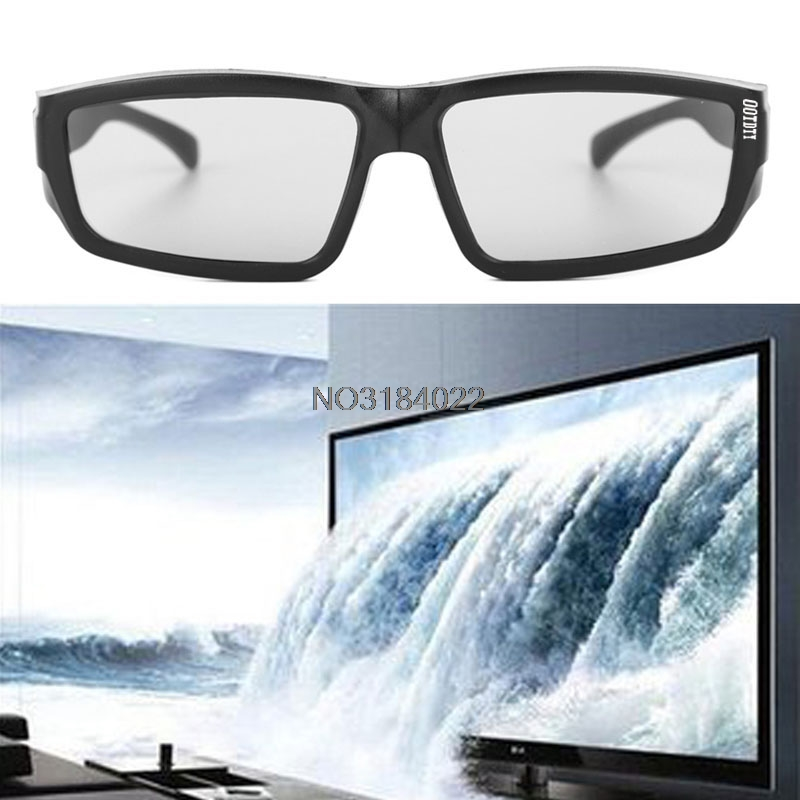Circular Polarized Passive 3D Stereo Glasses Black H4 For TV Real D 3D Cinemas #4XFC# Drop Ship