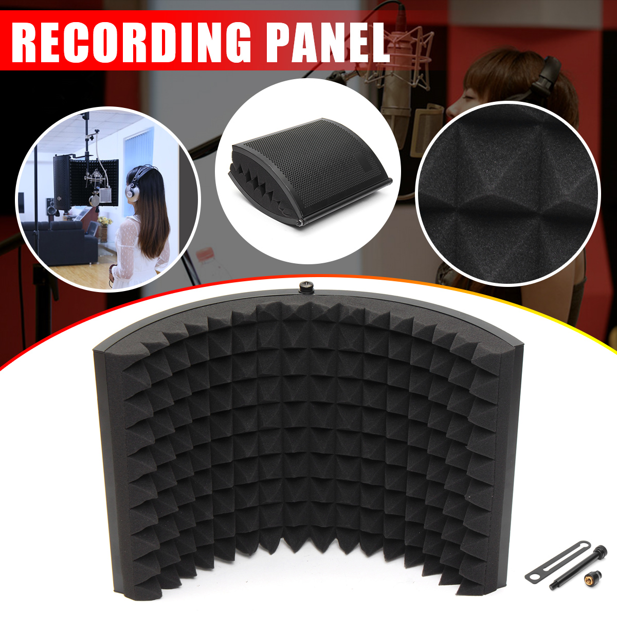 Alloy Foldable Microphone Acoustic Isolator Shield Acoustic Foams Panel Professional Studio Soundproofing Panel acoustic