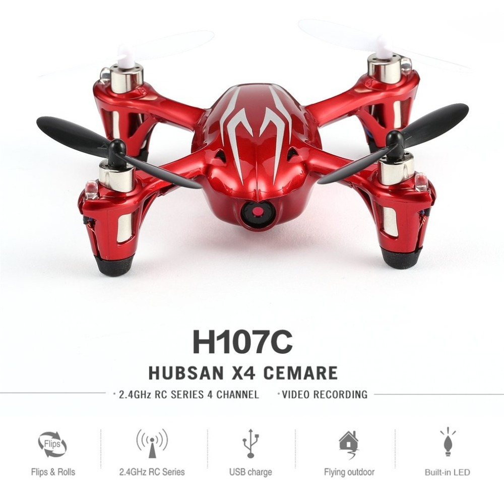 Hubsan X4 H107C 2.4GHz Drone 4 Channels 6-axis Gyro Portable Mini Drone RTF RC Quadcopter With 0.3MP Camera 3D Flip Built-in LED 7 4v 2700mah 10c battery 1 in 3 cable usb charger set for hubsan h501s h501c x4 rc quadcopter
